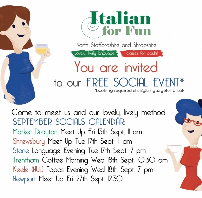 Italian For Fun –  North Staffordshire-Shropshire – FREE EVENTS