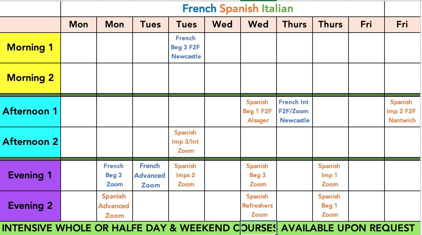 Class Timetable Autumn 2021