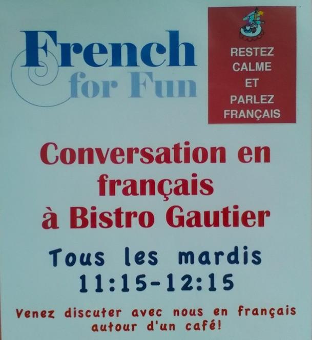 Groupe de conversation en français tous les mardis!